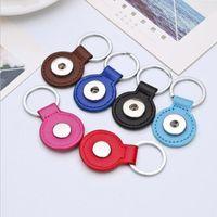 Ronda de cuero de la PU Snap Botón Llavero 8 colores anillos de retención clave apta DIY 18MM Snap joyería