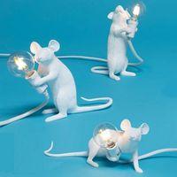 مكتب الحديثة SELETTI ماوس الجدول مصباح LED الراتنج ماوس مصابيح الشمال اطفال مصباح ديكور الغرفة الرئيسية أضواء الجدول بقيادة EU / AU / الولايات المتحدة / المملكة المتحدة التوصيل