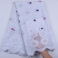 5Yards Pure Cotton African Dry Lace Fabric With Stones Niger...