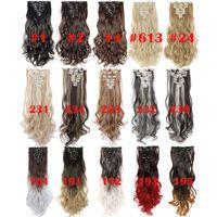De haute qualité 24inch onduleux 18 clips dans les cheveux Styling cheveux naturels synthétiques Extensions de cheveux postiche Extension pour les femmes