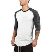Raglan Mens Casual manches T-shirts Mode lambrissé couleur genoux O Neck Tops Hommes Fitness Sports T-shirts