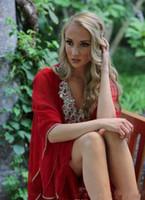 새 빨간 아랍어 스타일 이브닝 드레스 중동 V 넥 두바이 파란색 긴 소매 아바야 이슬람 공식 파티 드레스 플러스 사이즈 파티 Dressess