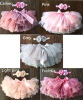 2020 Babys Tutus 5 Farbe Röcke mit Bogen Kinder Kuchenschicht Kleider passen 0-2 Jahre Netz
