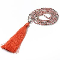 Verre Cristal Perles Collier Tassel Pendentif main noueuse Bohême Simple Déclaration Vintage Colliers Bijoux pour les filles de femmes