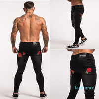 Stylish Back Rose Black Jeans Mens Clothing Designer Ripped Distressed Pencil Pants Trousers