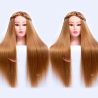 26 pouces Fibre blonde coiffure coiffure Tête de train Mannequin Cosmétologie Poupée Nice Femelle Manikin Toile de coiffure avec table de table gratuite Stand 65cm