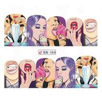DIY Wassertransfer Nagel-Kunst-Aufkleber 12pcs / set Pop Art Design Aufkleber Cool Girl Lippenschmuck Voll Wraps Nails JIBN385-396