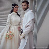 Принцесса блестящее бальное платье мусульманские свадебные платья с длинным рукавом высокая шея аппликации Abric Dubai Vestido de noiva свадебные платья