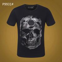 Sommer Mens Marke T-shirt PP Schädeldruck niet Perlen Tops Fashion Designer Tshirt hohe Oansatz Qualität Schädel t-stücke # 6137