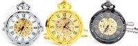 Comercio al por mayor 20 unids / lote Hombres perspectiva ventana de acero de tungsteno hueco relojes mecánicos reloj de bolsillo mecánico PW131