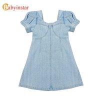 Babyinstar Vestidos crianças para meninas moda Vestidos de Natal Verão Vestuário Crianças Costume Denim Dress Menina da criança