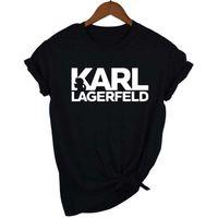 2020 Karl مصمم مطبوعة إمرأة بلايز lagerfeld س الرقبة قصيرة الأكمام المرأة قمم الصيف السيدات مزق عارضة المحملات