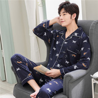 Spring and Autumn Men' s Pajama Knitted Cotton Thin Long...