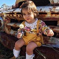Girls Boutique Tenue Baby Romper Shorts Set Spring Summer Toddler Dentelle Floral Oneesies Vélo Enfants Vêtements Enfants Vêtements 70-110
