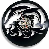 الدلفين أدى الفينيل ساعة الحائط الإضاءة ديكور متعدد الألوان المزاج ليلة مصباح ساعة