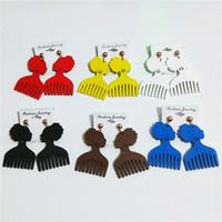 Esagero modello africano pettine geometrico orecchini in legno Orecchini in legno moda orecchini orecchio gioielli Boemia