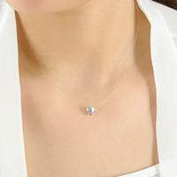 Collana di ciondolo di Zircone di linea di pesce trasparente Stealth Collana di ciondoli di gioielli a catena corta di clavicola femminile di femminilità
