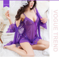 New lace sexy pajamas robe + sling + thong + belt, adult sex...