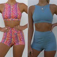Mulheres Sets Yoga Treino Ginásio da aptidão que funciona Sports Outfit de alças Shorts exercício empurram 2pcs Up Verão Sportswear - xy19