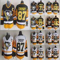 Versão vintage Pittsburgh Penguins Jersey 87 Sidney Crosby 77 Coffey 71 Evgeni Malkin 66 Jerseys de hóquei Lemieux