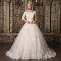 2019 Modest A Line Vestidos de novia Sheer Bateau Nec Apliques de encaje Volver Lace Up Estilo de país Elegante vestido de novia por encargo Venta caliente