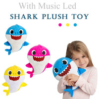 3 Colors Baby Shark Plush Toys with Music Led Cartoon Stuffe...