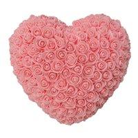 10 unids 35 cm Roses Corazón Flores artificiales Inicio Festival de boda DIY Barato de la boda Decoración de regalo Caja de regalo Crafts Best Gift Amazzz