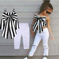 Designer Bambini Abbigliamento Estate Neonati Abiti Girls Set Abbigliamento Plaid Abbigliamento Spallacci A Bow Stripe Top Lunghi pantaloni Abiti da bambino