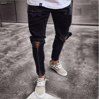 High Street Mens Jeans Knees Zipper Destruction Slim pieds et trous Denim Pantalon noir avec S-3XL