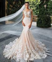 New Mermaid Wedding Dresses Cap Sleeve Sheer Jewel Neck with Applioques Lace Elegant Bridal Gowns Custom