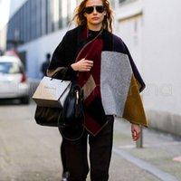 Vintage Oversized donne grande scialle di lana a blocchi di colore della sciarpa del cachemire esterna calda inverno Mantello Halloween Party regalo DDA791