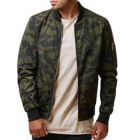 Beyzbol Yaka Artı Boyutu Gevşek Ceketler Erkekler Kamuflaj Ceket Erkek Ordu Yeşil Mont Camo Bombacı Erkek Ceket Dış Giyim