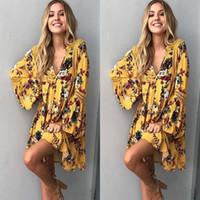 Yaz Kadın Çiçek Pamuk Boho Elbise Yeni Bahar Sonbahar Çiçek Uzun Kollu Gevşek Parti Boho Mini Elbise Tops S-2XL