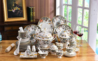 Porzellan Western Stil Geschirr Set Bone China Tier Muster 58 stücke Geschirr Sets Keramik Kaffee Sets Hauswarming Hochzeit Geschenke