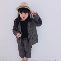 2pcs Boys girls spring autumn clothing set kids fashion plai...