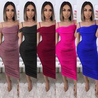 Plissierte Kleider Fashion Solid Color Damen Kleidung 2020 Frauen Designer Mid lange Kleid Sommer-reizvolles Unterhemd