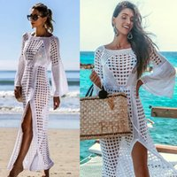Donna Casual O-Collo manica lunga cava Pullover Beach Crochet Swimsuit Allentato Lunghezza caviglia Estate fino