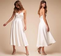새로운 스파게티 스트랩 레이스 짧은 웨딩 드레스 새틴 라인 차 길이 백리스 여름 해변 신부 웨딩 드레스 컨트리 웨딩 드레스