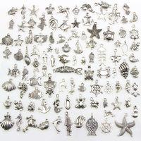 Gemischte 100 Entwürfe Meeresschildkröte Frosch Meerjungfrau Krabbe Krokodil Krake Fischknochen ... Nautische Thema Charms Anhänger für DIY Halskette Bangle Making