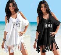 فتاة قبالة فساتين الكتف إلكتروني مطبوعة شاطئ اللباس المرأة الصيف الشرابة اللباس بيكيني زائد حجم فضفاض شاطئ اللباس GGA3374-1