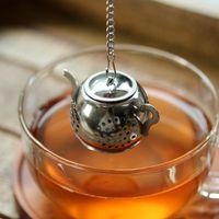 Aço inoxidável chá infusor de alta qualidade reutilizável saquinho de chá de metal bule de chá forma Mini coador com chaveiro acessórios de chá