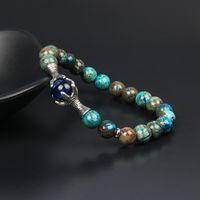 مجوهرات رجالية الفولاذ المقاوم للصدأ الكلاسيكية مخلب التنين أساور الجملة 8MM الخرز الحجر الطبيعي الفضة مخلب النسر سوار