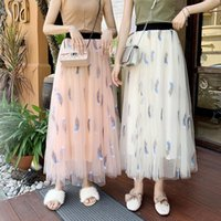 Hot sale spring and summer embroidery mesh skirt women 3 lay...