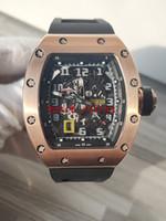 Yüksek Sürüm RM 030 İskelet Büyük Tarih Dial Japonya Miyota Otomatik RM030 Erkek İzle 50x40 Gül Altın Siyah Kauçuk Kayış Spor Saatler