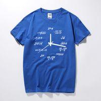 Moda-VHORZ Matematik Yaratıcı Saat Gömlek Erkekler Baskılı Pamuk Rahat Gevşek Kısa T-Shirt Tops Yenilik Nerd Geek Stil T gömlek Boys