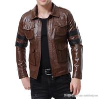 Mens Luxo Faux Leather Jackets Moda lapela pescoço PU Casacos Hip Pop Painéis frouxa dos homens do vestuário