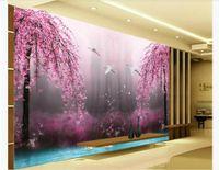 Motos fotográficas de seda 3D personalizadas fondo de pantalla HD Dream Wonderland Peach Blossom Crane 3D TV Fondo de la pintura de pared