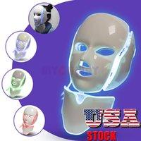 US 주식 7 컬러 LED 광자 피부 회춘 FacialNeck 아름다움 균형 피부 톤 페이셜 케어 뷰티 머신