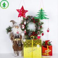 شجرة خشبية عيد الميلاد عيد الميلاد HOT 24PCS شنقا قلادة الخماسية نجم شكل شجرة حلية الرئيسية لصائق