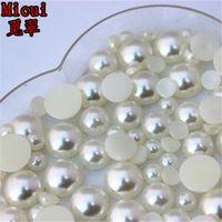 Micui 300PCS 6mm / 8mm / 10mm imitación perla redonda de resina ABS de Flatback La mitad de perlas para la joyería de ropa Crafts Decoración ZZ214
